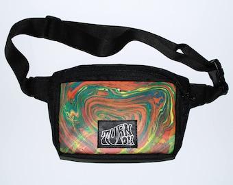 Trippy Psychedelic  Marbling Waist bag with unique pattern #Stoner_bag bum bag festival bag belt bag hip pouch bags & purses festival bag