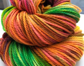 Amazon Hand Dyed Yarn Superwash Merino Worsted Aran Weight Greens Orange Pink
