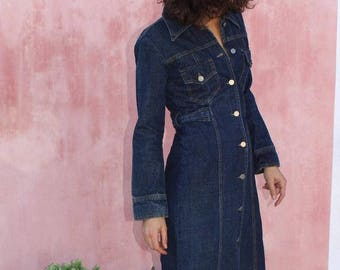 Vintage 80s denim maxi dress