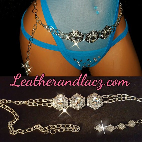 "Striking Belly Chain with Rhinestones 3 Large Crystals and 3 Silver Diamond Rhinestone Charms adjustable 30"" to 37"" Exoticwear Body jewelry"