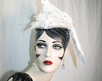 Wedding Fascinator White Dove Hat Church Hat Statement Hat