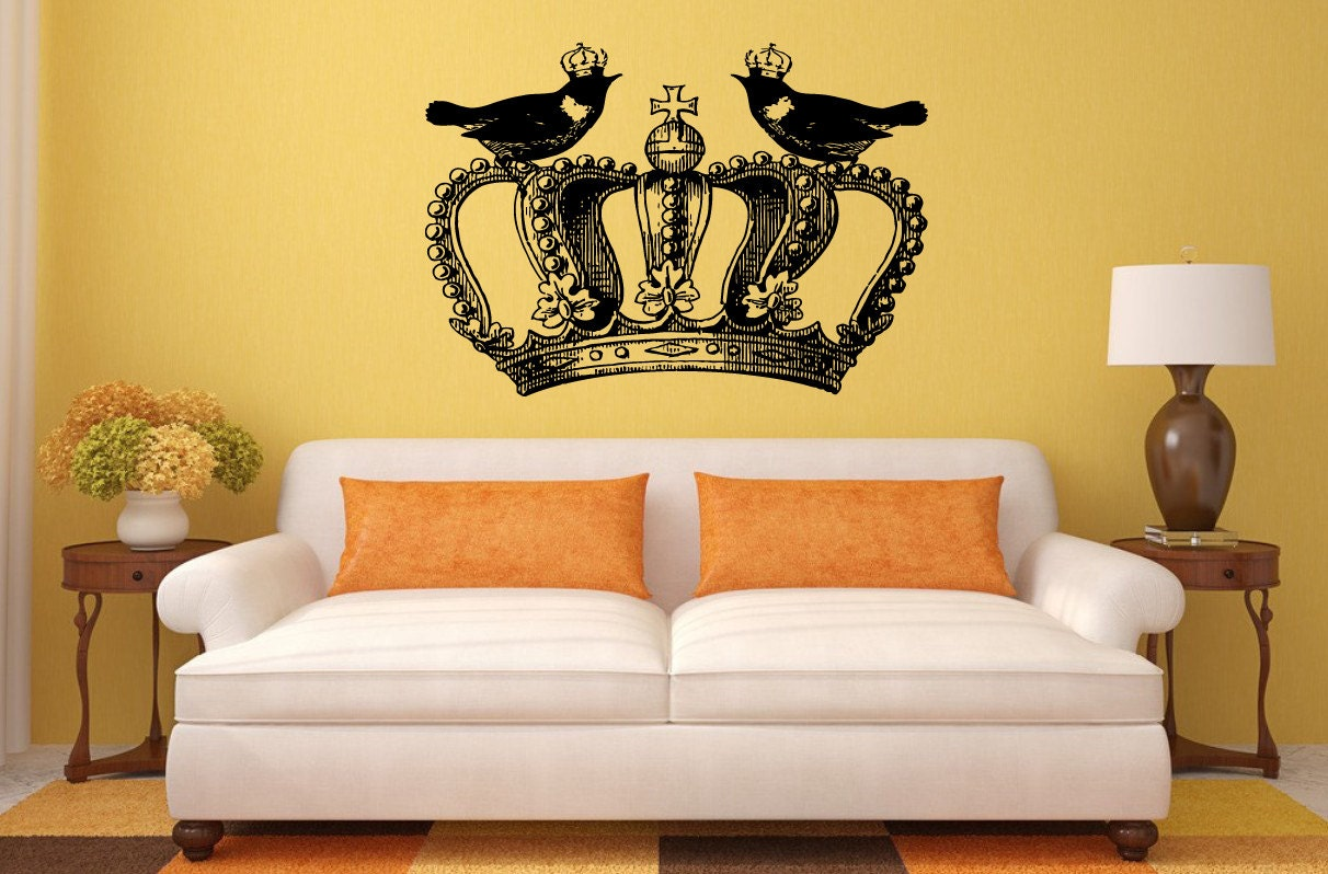 Royal Crown King Queen Two Birds Design Interior Wall Graphic