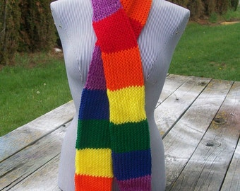 Knitted Rainbow Striped Long Scarf Red Orange Yellow Green Blue Purple Ready to Ship