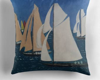Beautiful Throw Cushion Featuring The Painting 'Les Yacht Classiques II'