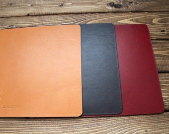 Personalized Mouse Pad Mat made from Italian Vegetable tanned Leather