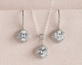 Crystal Bridal Set, Bridesmaids Jewelry Set, Rose Gold, Gold Cushion Cut Crystal Pendant & Earrings, Wedding Jewellery, Molly Bridal Jewelry
