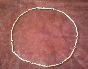 Hand forged Screw Twist sterling silver link necklace, lighter with variable length links