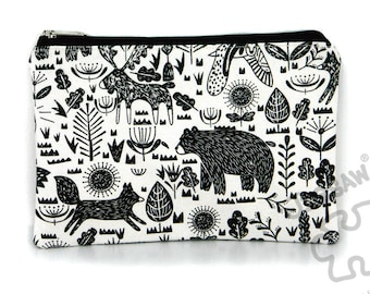 Animal drawing print bag, canvas zipper pouch, pencil case, make up bag, canvas purse, card holder, back to school