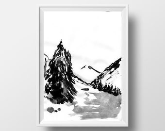 Mountain Range Simple Painting Black White Sumi E Minimalist Ink Drawing Print Nature Wall Art Abstract