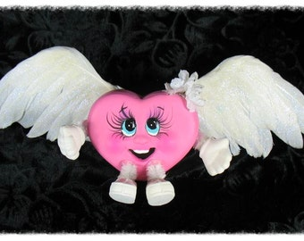 "Ceramic ""WINGED HEART"" Character/Valentine'sGift/SweetHeart/FeatherWinged/HostessGift/Unique/Handmade/HappyValentinesHeart"