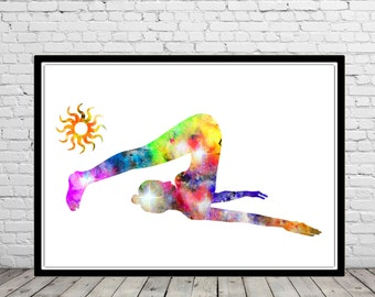 Yoga pose, halasana yoga pose, plow yoga pose, watercolor Yoga pose, Yoga pose print, Room Decor, Poster, print