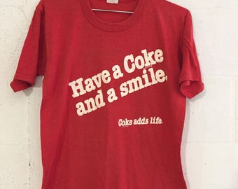 Vintage Have A Coke & A Smile Red T shirt L