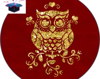 1 cabochon clear 25 mm Golden OWL theme