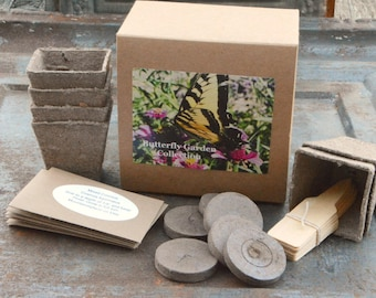 Butterfly Plant Kit, Butterfly Garden Gift Set, Heirloom Seeds, Mother's Day Gift, Heirloom Zinnias for Butterfly Gardening, Gardener Gift