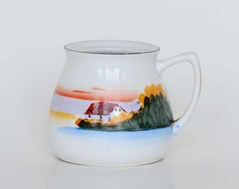 Vintage Meito China Scenic Sunset View Hand Painted Sugar Bowl - Made In Japan