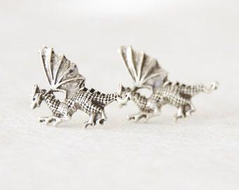Dragon Earrings, Dragon Studs, Silver Dragon Stud Earrings, Dragon Jewelry, Geeky Gifts, Graduation Gift, Birthday Gift, Dragon Jewellery