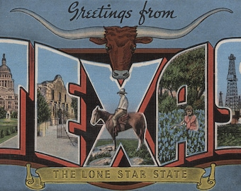 Greetings from Texas - Vintage Halftone (Art Print - Multiple Sizes Available)