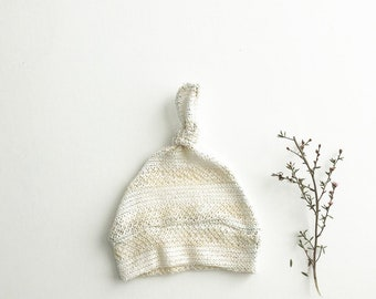Beanie/Hat - Infant Knot Beanie in Cream Sweater Knit