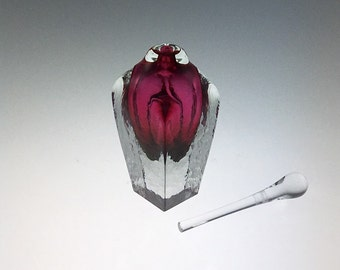 Hand Blown Glass Perfume Bottle - Ruby Red Cubic  by Jonathan Winfisky