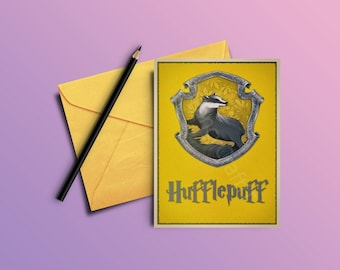 Hufflepuff Printable Gift Card - Holiday Gift Card- Greeting Card with Harry Potter Quote -A6,A5,A4 formats -INSTANT DOWNLOAD