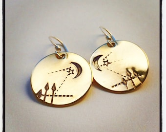 bronze sterling disc pine tree earth moonlight ILLUMINATION earrings lightweight recycled metal