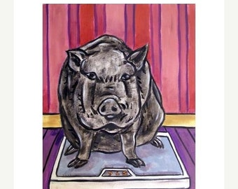 25% off Pig on a Diet Animal Art print