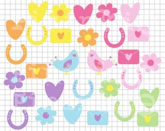 Valentine Clip Art - INSTANT DOWNLOAD - Wedding Clip Art - Hearts Flowers Birds Love Letters - png/jpg