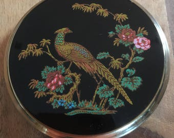 Stratton Powder Compact Pheasant Oriental Design 1950s Mirror/Handbag/Collectible/Gift For Her Birthday Mother's Day Collectible