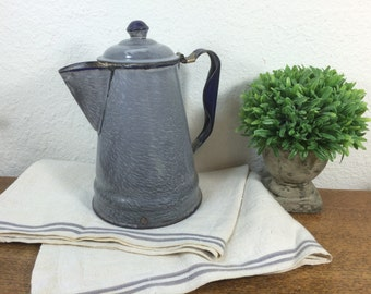 Graniteware Coffee Pot *FREE SHIPPING* Gray Enamelware Coffee Pot Blue Trim