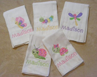 Turtle-Dragonfly-Butterfly-Snail-Caterpillar Personalized Burp Cloth or Bib Set