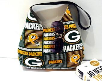 Green bay Packers NFL Hobo Handbag, Hobo Shoulder purse for game day, Christmas gift for her, Christmas gift under 40
