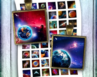 Nebula Space 0.75x0.83 scrabbles 1 inch Images Printable Square Images for Pendants  Digital Collage Sheet - Instant Download