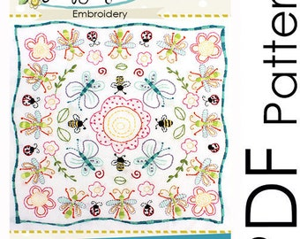 Embroidery Pattern - PDF - Insects and Flowers