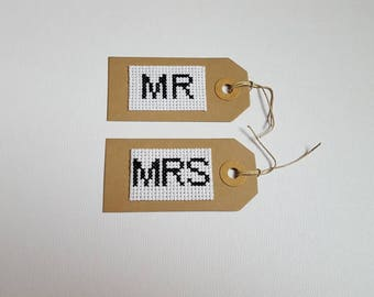 Set of 2 Mr and Mrs cross stitch gift tags
