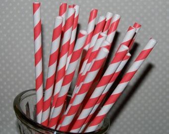 Stripe Straws - Coral 100 paper straws & Flags - Coral Red stripe drinking straws - cake pop sticks vintage party straws