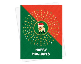 Festive Frenchie Gold Foil Christmas Cards, Box of 8 - Foil Stamped Holiday Cards - OC1193-BX