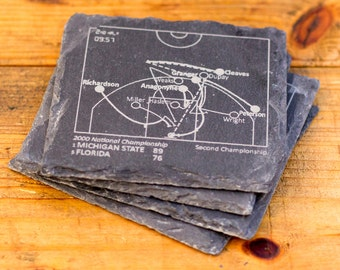 Michigan State Greatest Plays - Slate Coasters (Set of 4)