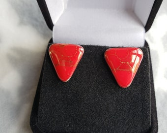 Vintage Handmade Red with Gold Streaks Triangle Ceramic Post Earrings