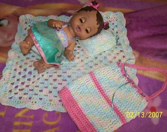 Crocheted Baby Doll Afgan, Pillow, and Diaper Bag