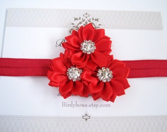 Red Satin Flowers Headband, Baby Headbands, Newborn Headbands, Infant Headbands, Baby Girl Bow, Infant Hair Bow,