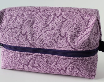 Purple paisley print box bag