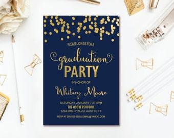 Confetti Graduation Party Invitation - Navy & Gold Graduation Invitation - Printable Invite
