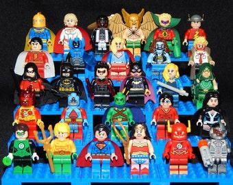 Justice League Pick Your Set of 5 DC Inspired Minifigures Batman Superman Wonder Woman Green Arrow Flash Shazam Society (LEGO Compatible)