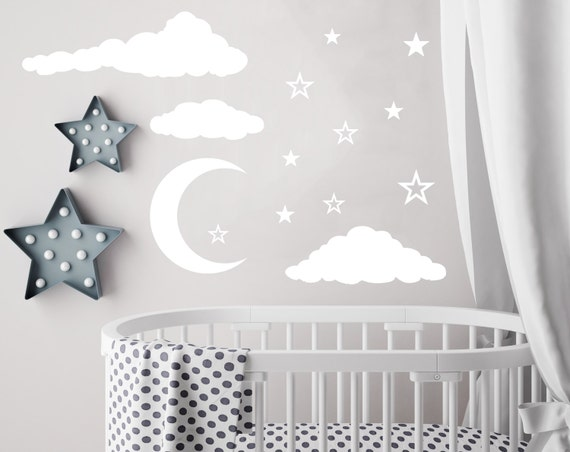 Cloud Wall Decal Moon And Stars Decals Nursery Decor Night Sky - Nursery wall decals clouds