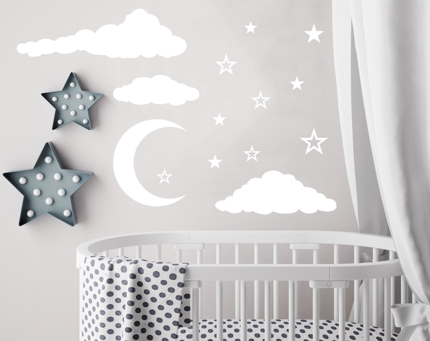 Cloud Wall Decal Moon And Stars Decals Nursery Decor Night Sky