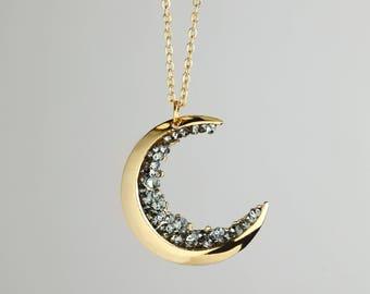 Gold Crescent Moon Necklace Black Diamond Necklace MignonandMignon Mothers Day Gift - ZCMN