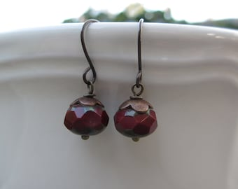 Dark Red Earrings,  Antiqued Brass, Small Bead Earrings, Czech Beads, Irisjewelrydesign