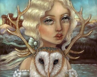 Skye and Finias barn owl Pop Surrealism big eye fine art print