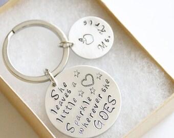 She leaves a little sparkle wherever she goes, Teacher Gift, Personalized Teacher Gift Keychain, Hand Stamped Teacher Gift, Teacher Name