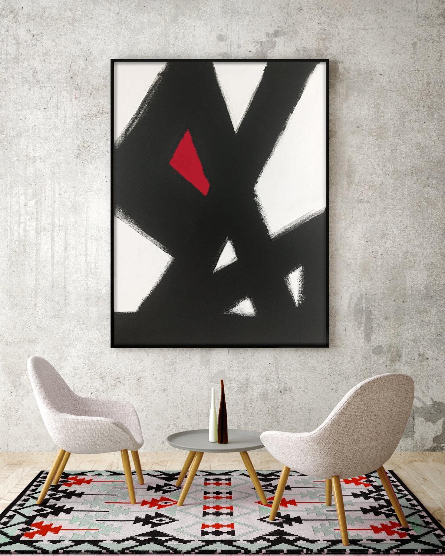 Abstract Black White Slash No2 RED Modern Living Room Art Modern
